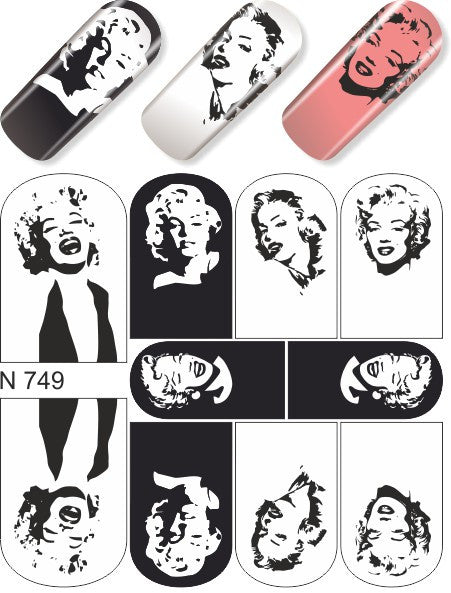 Water Decals - Marylin Black & White
