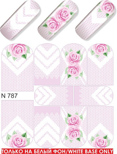 Water Decals - White Rose Lace