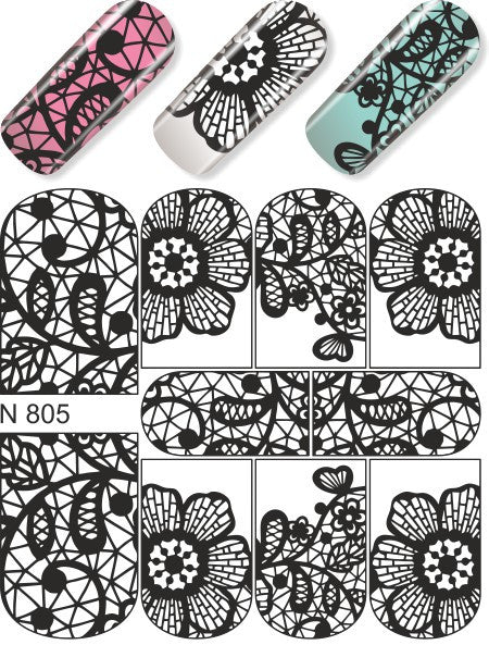 Water Decals - Black Floral
