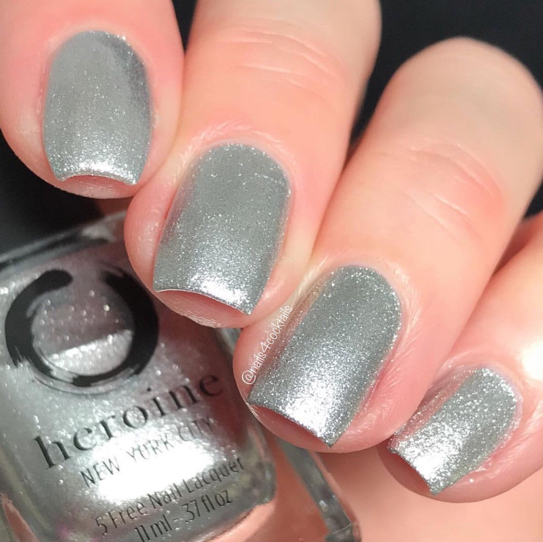 metallic silver nail polish | SILVER LININGS by heroine.nyc