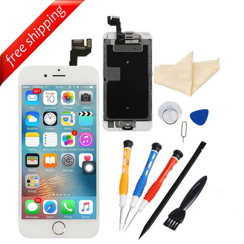 LCD Display Touch Screen For iPhone 6S With Spareparts Home Button, Earphone, Camera & Etc - White with Silver Home Button