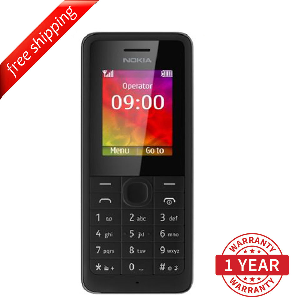 "Original Nokia 106 Black (RM-962) 1.8"" TFT LCD (English, Russian & Arabic) Black - Refurbished"