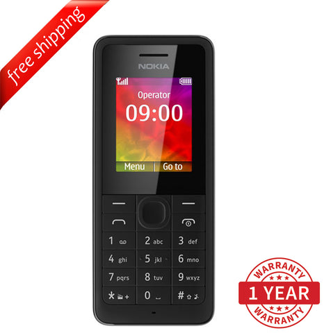 "Nokia 106 Black (RM-962) 1.8"" TFT LCD (English, Russian & Arabic) Red - Refurbished"