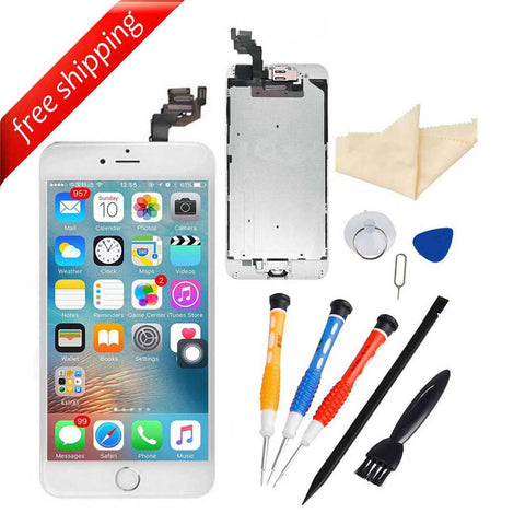 LCD Display Touch Screen For iPhone 6S Plus With Spareparts Home Button, Earphone, Camera & Etc - White with Silver Home Button
