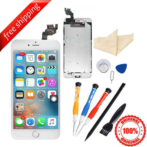 Original LCD Display Touch Screen For iPhone 6S Plus With Spareparts Home Button, Earphone, Camera & Etc - White with Silver Home Button