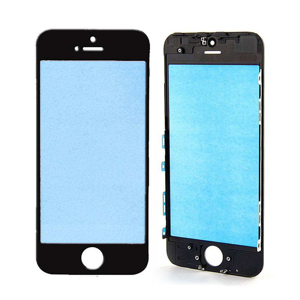 Touch Screen Digitizer Outer Glass Lens with Bezel Frame Pre-Assembled for iPhone 5 - Black