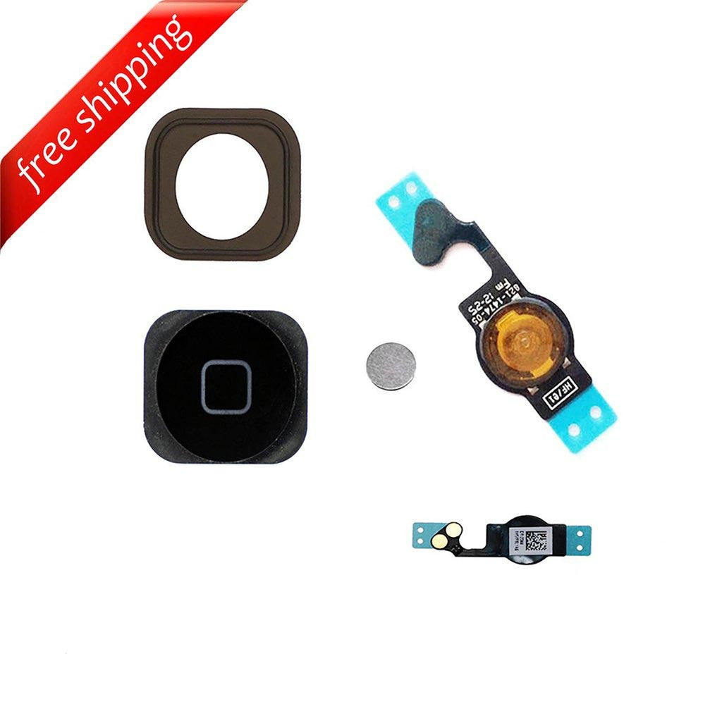 Replacement Home Button With Flex Cable and Rubber For iPhone 5 - Black