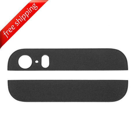 Back Cover Top & Bottom Glass Lens For iPhone 5s - Black