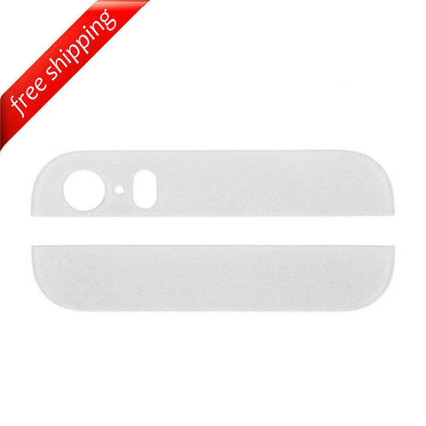 Back Cover Top & Bottom Glass Lens For iPhone 5s - White