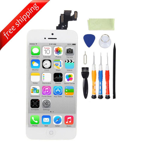 LCD For iPhone 5c With Spareparts Home Button, earphone, camera & Etc - White