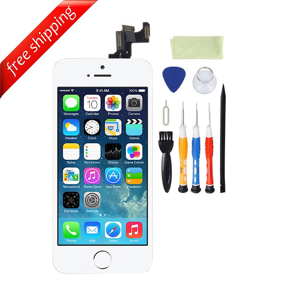 LCD For iPhone 5s  With Spareparts Home Button, earphone, camera & Etc - White