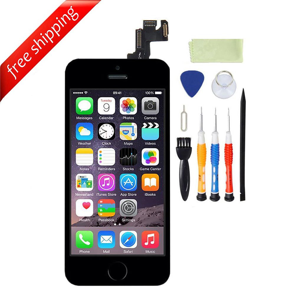 LCD For iPhone 5s With Spareparts Home Button, earphone, camera & Etc - Black