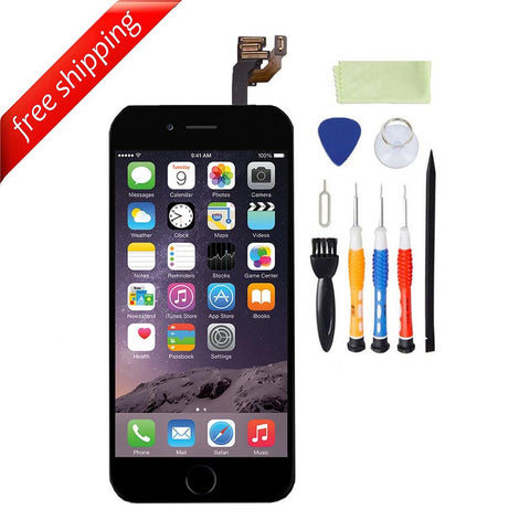 LCD For iPhone 6  With Spareparts Home Button, earphone, camera & Etc - Black