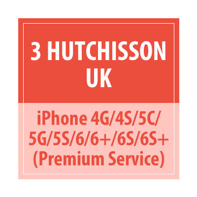 3 Hutchisson UK iphone 4G/4s/5c/5G/5s/6/6+/6s/6s+ Premium Service
