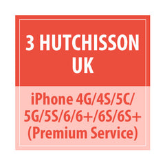 3 Hutchisson UK iphone 4G/4s/5c/5G/5s/6/6+/6s/6s+ Premium Service - Delivery Time : 10 days