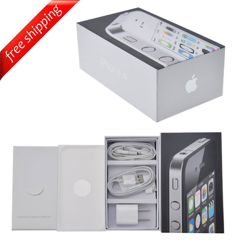 Packaging Box + Full Accessories + Label Sticker For iPhone 4