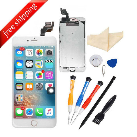 LCD Display Touch Screen For iPhone 6S Plus With Spareparts Home Button, Earphone, Camera & Etc - White with Gold Home Button