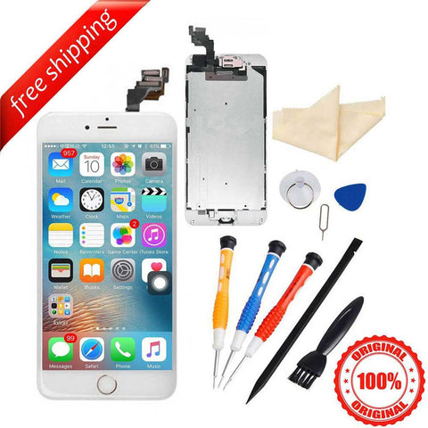 Original LCD Display Touch Screen For iPhone 6S Plus With Spareparts Home Button, Earphone, Camera & Etc - White with Gold Home Button