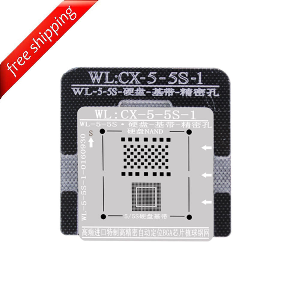 WL High-Quality NAND Baseband IC Chip BGA Reballing Stencil Plant Tin Steel Net with Fixed Plate for iPhone 5 5S