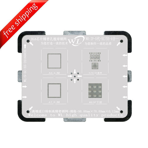 WL High-Quality 4 in 1 NAND Baseband CPU Upper and CPU Lower Tin Plate Steel Net BGA Reballing Stencil with Fixed Plate for iPhone 5 5C 5S