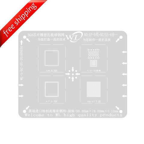 WL High-Quality 4 in 1 NAND Baseband CPU Upper and CPU Lower Tin Plate Steel Net BGA Reballing Stencil for iPhone 5 5C 5S