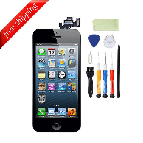 LCD For iPhone 5 With Spareparts Home Button, earphone, camera & Etc - Black
