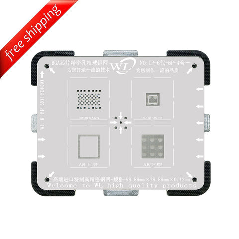 WL High-Quality 4 in 1 NAND Baseband CPU Upper and CPU Lower Tin Plate Steel Net BGA Reballing Stencil with Fixed Plate for iPhone 6 6Plus