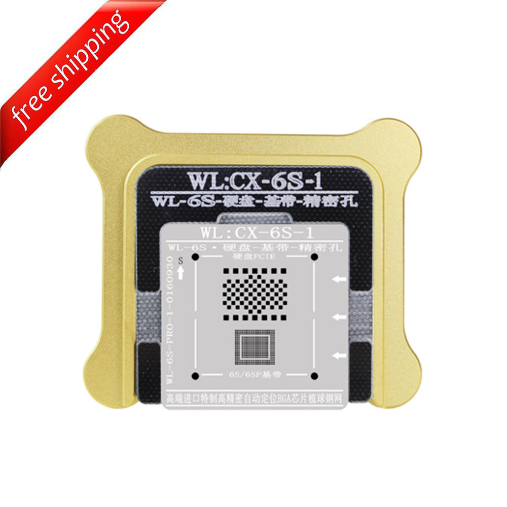 WL High-Quality NAND Baseband IC Chip BGA Reballing Stencil Plant Tin Steel Net with Fixed Plate and Holder for iPhone 6S / 6S Plus
