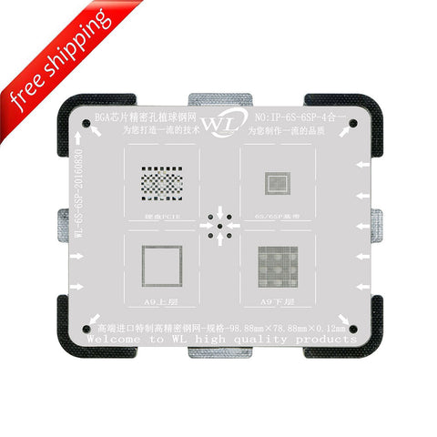WL High-Quality 4 in 1 NAND/PCIE Baseband CPU Upper and CPU Lower Tin Plate Steel Net BGA Reballing Stencil with Fixed Plate for iPhone 6S / 6S Plus
