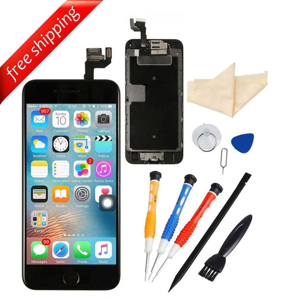 LCD Display Touch Screen For iPhone 6S With Spareparts Home Button, Earphone, Camera & Etc - Black
