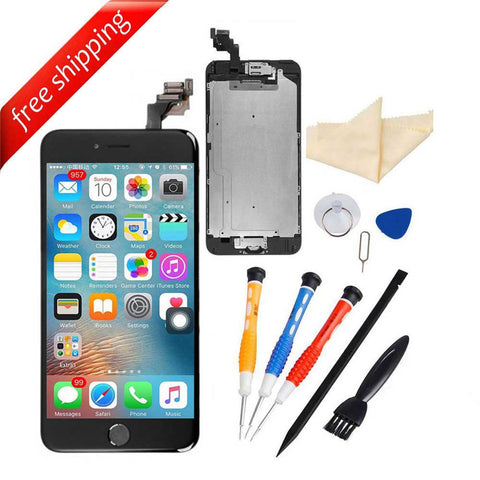 LCD Display Touch Screen For iPhone 6S Plus With Spareparts Home Button, Earphone, Camera & Etc - Black
