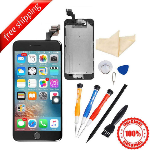 Original LCD Display Touch Screen For iPhone 6S Plus With Spareparts Home Button, Earphone, Camera & Etc - Black
