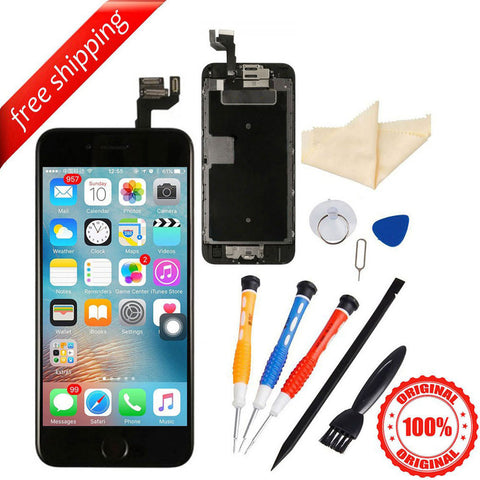 Original LCD Display Touch Screen For iPhone 6S With Spareparts Home Button, Earphone, Camera & Etc - Black