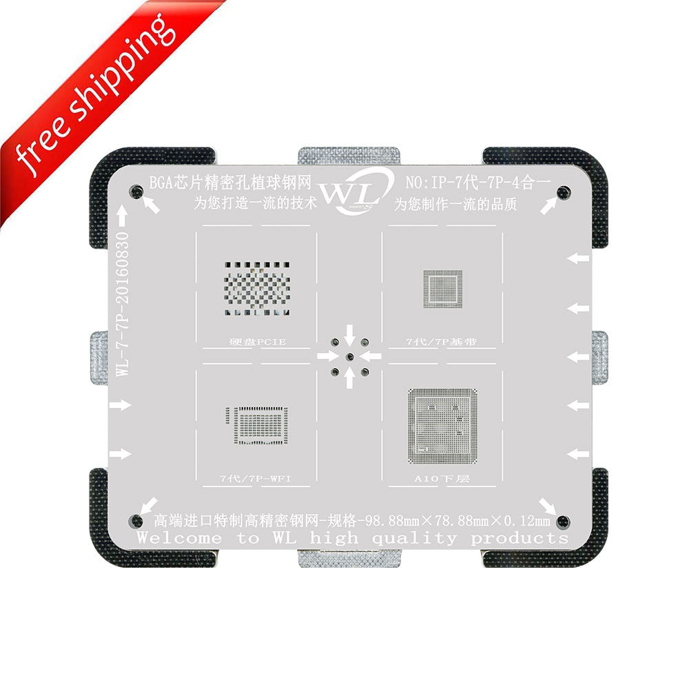 WL High-Quality 4 in 1 NAND/PCIE Baseband WIFI and CPU Lower Tin Plate Steel Net BGA Reballing Stencil with Fixed Plate for iPhone 7 / 7 Plus