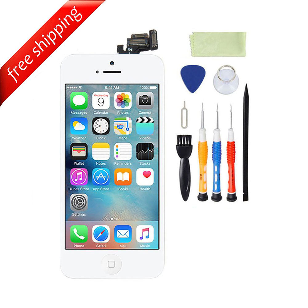 LCD For iPhone 5 With Spareparts Home Button, earphone, camera & Etc - White