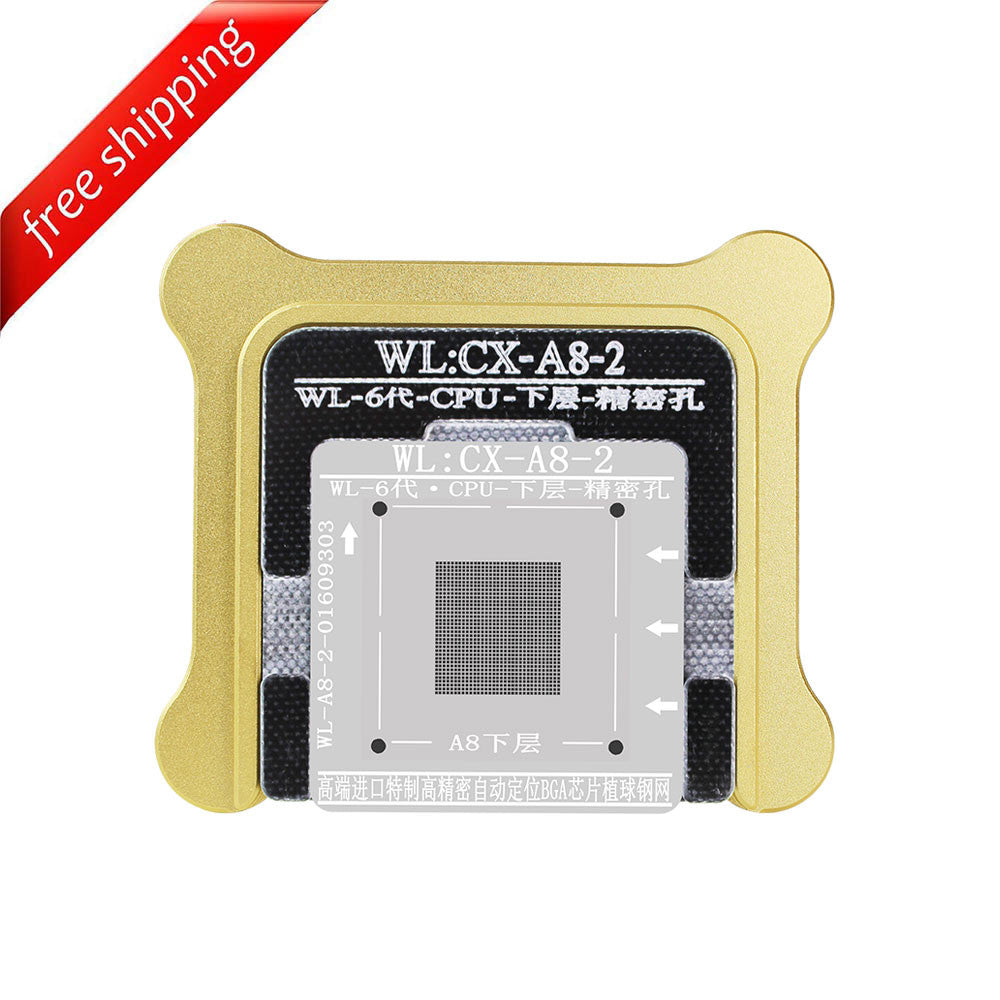 WL High-Quality A8 CPU Lower Tin Plate Steel Net BGA Reballing Stencil with Fixed Plate and Holder for iPhone 6 6Plus