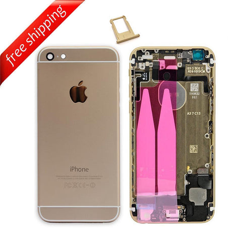 Back Housing Replacement Battery Case Cover Rear Frame With Small Spare Parts For iPhone 6 - Gold