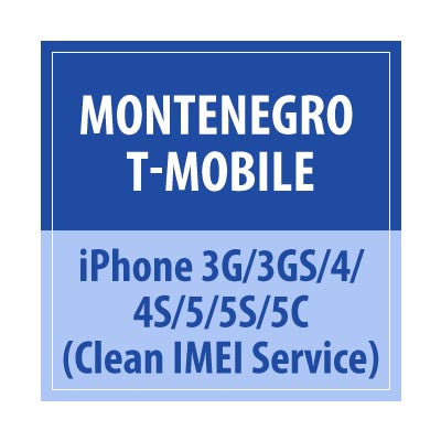 Montenegro T-Mobile iPhone 3G/3GS/4/4S/5/5C/5S Clean IMEI Service - Delivery Time : 72 Hours