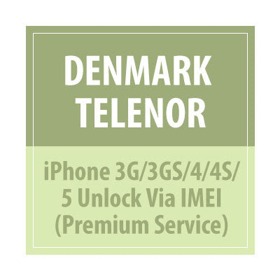 Denmark Telenor iPhone 3G/3GS/4/4S/5 Unlock Via IMEI Premium Service - All IMEI Supported - Delivery Time : 1-5 Days