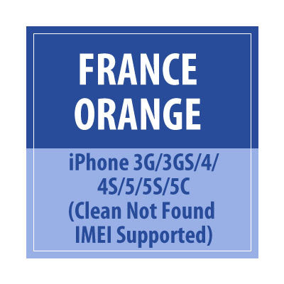France Orange iPhone 3G/3GS/4/4S/5/5S/5C Clean Not Found IMEI Supported - Delivery Time : 12 Hours