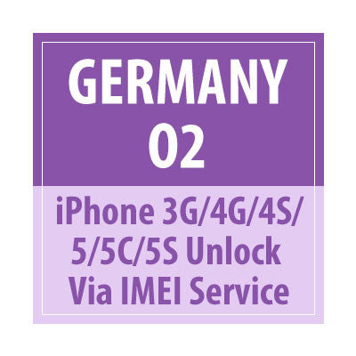 Germany O2 iPhone 3G/4G/4S/5/5C/5S Unlock Via IMEI Service - Delivery Time : 24 Hours