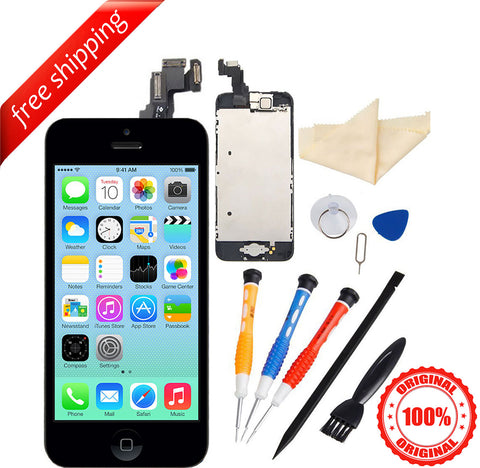Original LCD For iPhone 5c With Spareparts Home Button, earphone, camera & Etc - Black