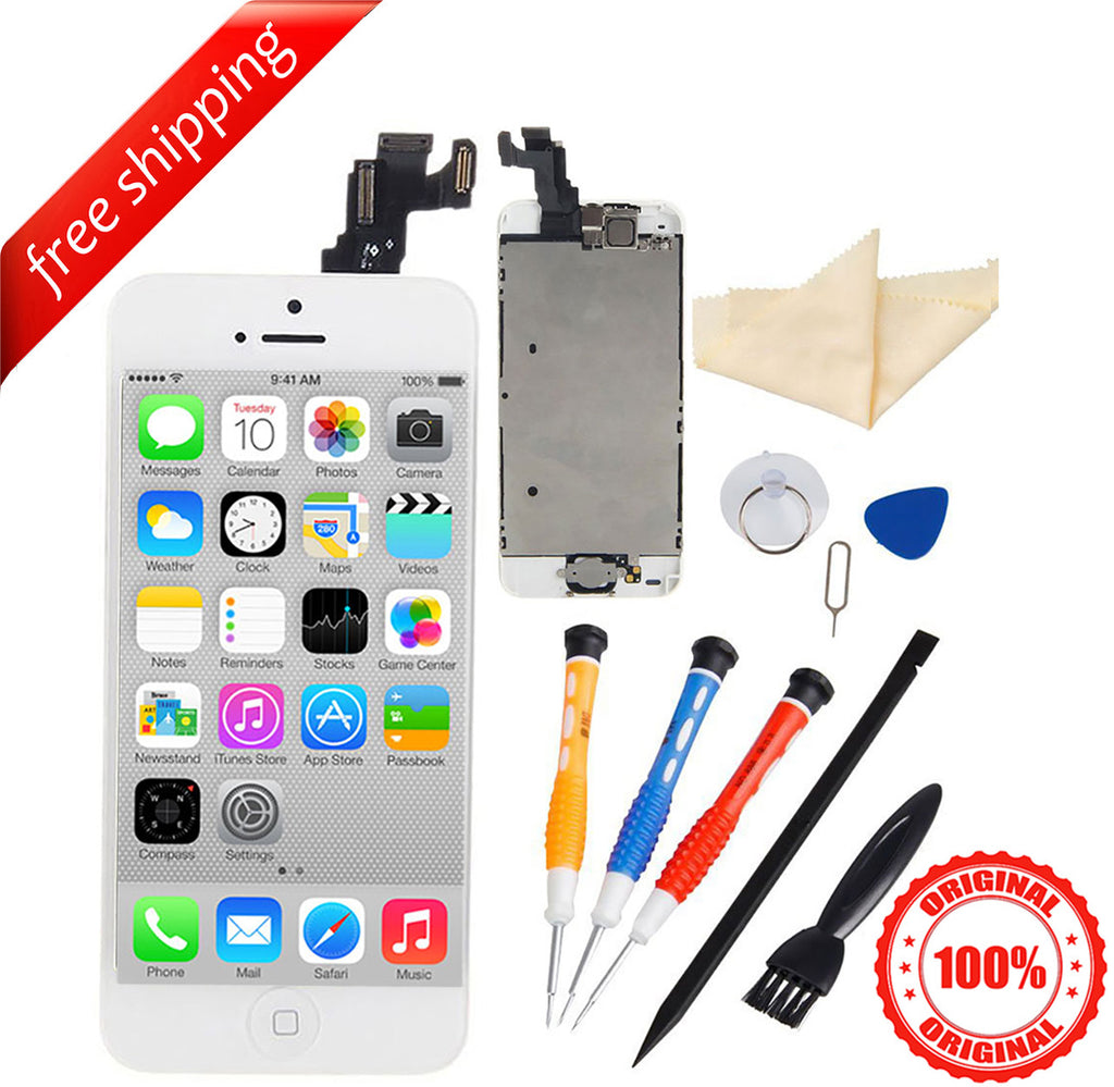 Original LCD For iPhone 5c With Spareparts Home Button, earphone, camera & Etc - White