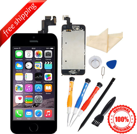 Original LCD For iPhone 5s With Spareparts Home Button, earphone, camera & Etc - Black