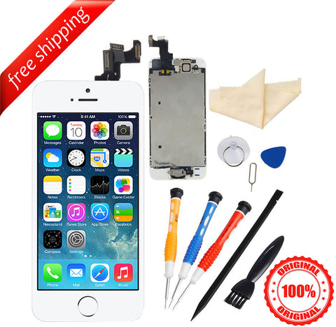 Original LCD For iPhone 5s With Spareparts Home Button, earphone, camera & Etc - White