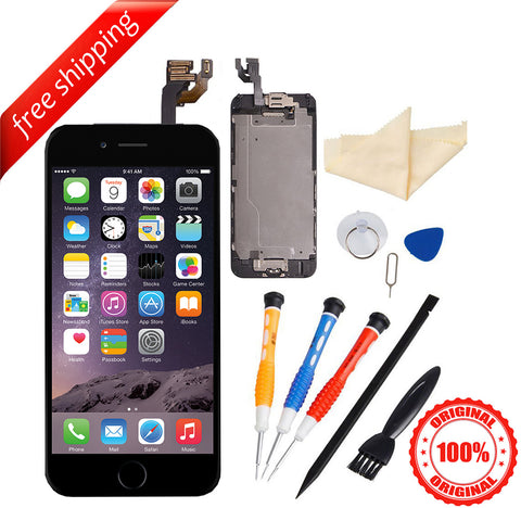 Original LCD For iPhone 6 With Spareparts Home Button, earphone, camera & Etc -Black