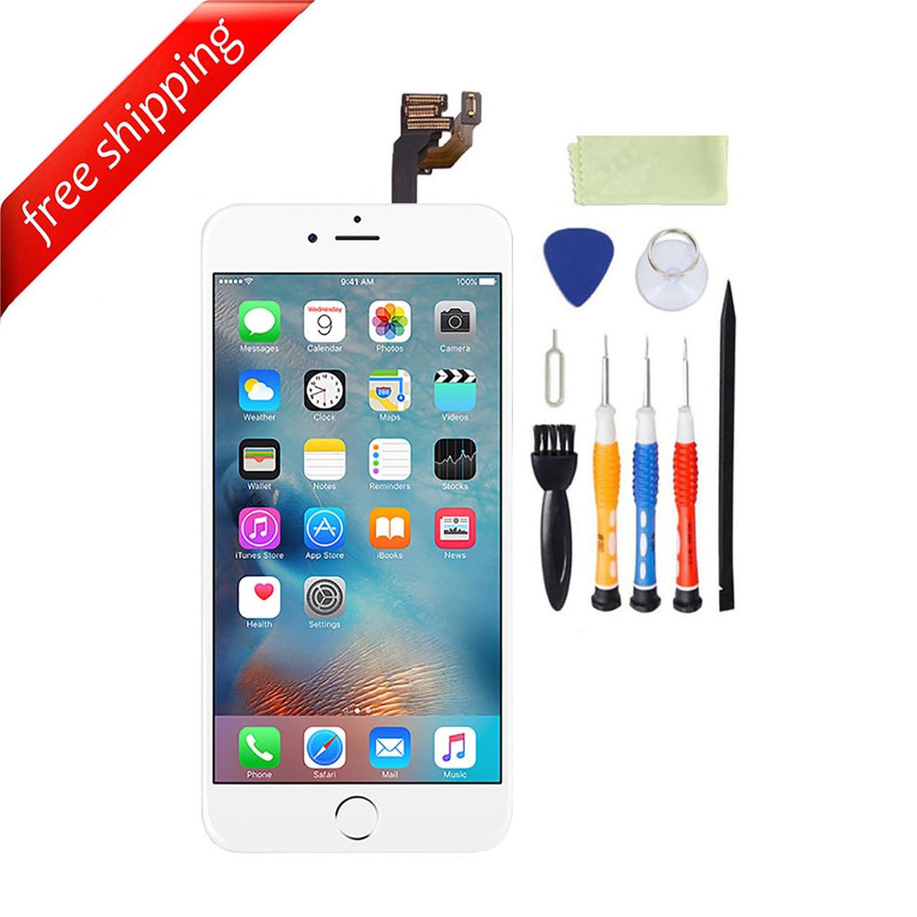 LCD For iPhone 6 With Spareparts Home Button, earphone, camera & Etc - White