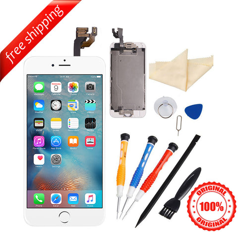 Original LCD For iPhone 6 With Spareparts Home Button, earphone, camera & Etc - White