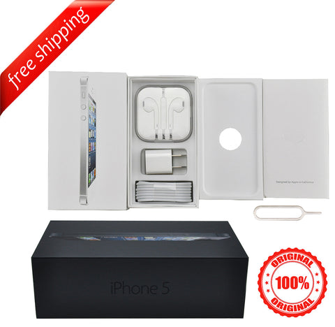 Original Packaging Box + Original Full Accessories + Label Sticker For iPhone 5