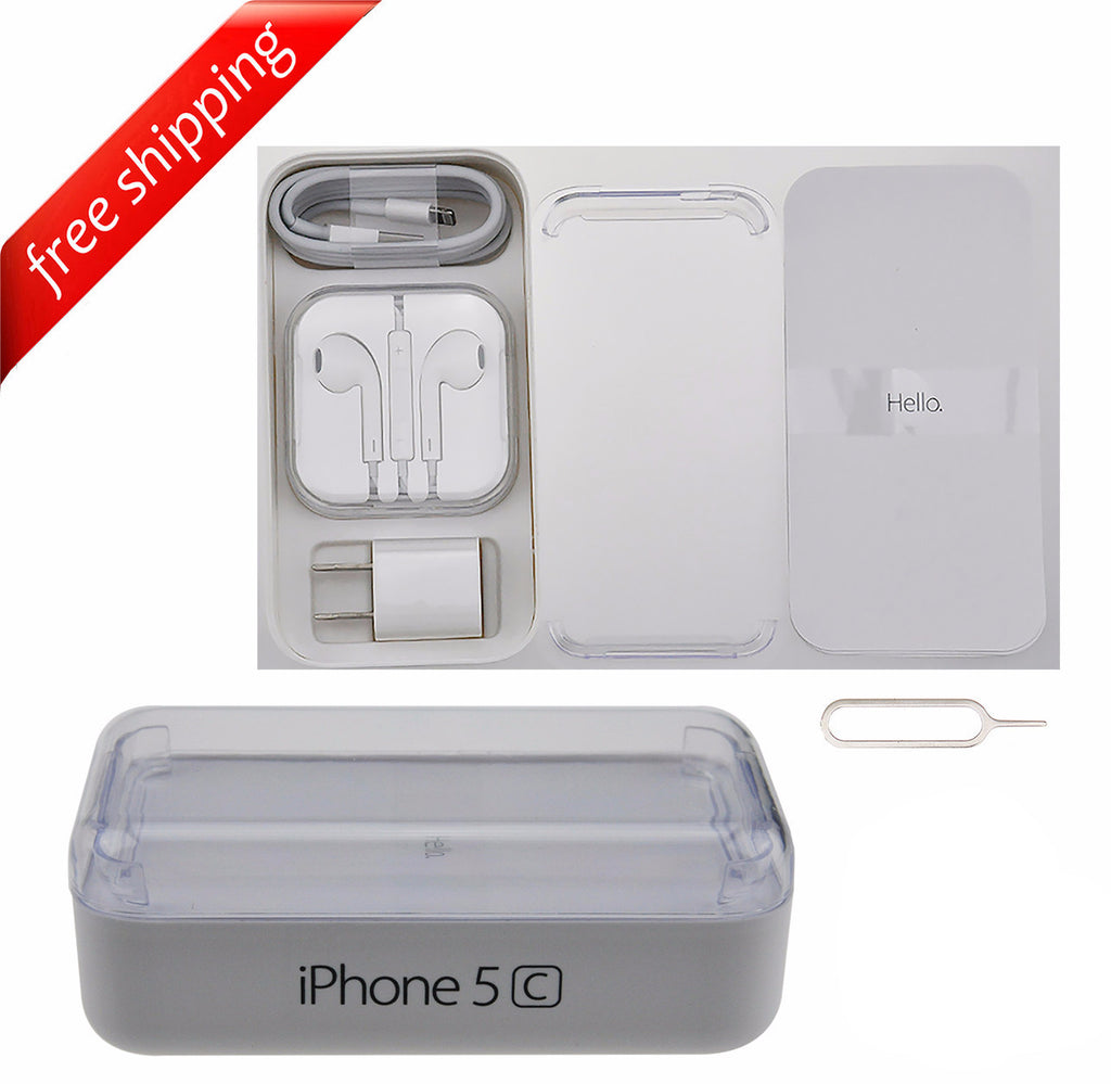 Original Retail Packaging Box + Full Accessories + Label Sticker For iPhone 5C